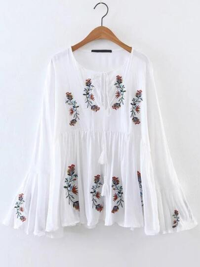 White Flower Embroidery Bell Sleeve Tassel Tie Blouse