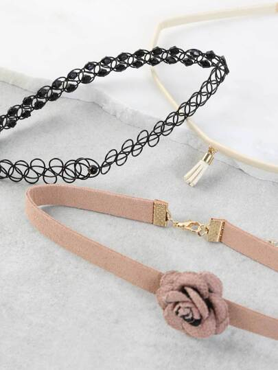 Rose Pendant Choker Set MULTI