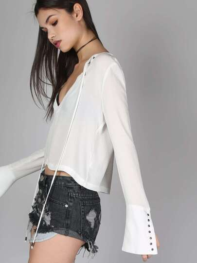 Eyelet Bell Sleeved Crop Top WHITE
