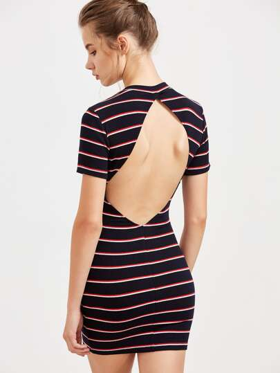 Navy Striped Open Back Ribbed Bodycon Dress