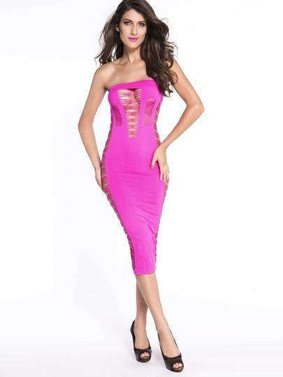 فستان التفاصيل كتف مكشوف - وردي ساخن
