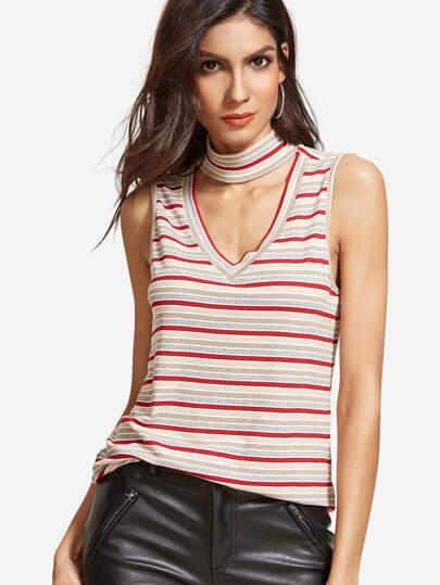 Multicolor Striped V Cutout High Neck Top