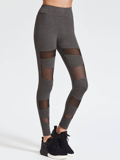 Leggings con inserti in rete - grigio