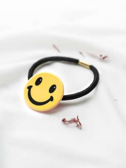 Yellow Smiley Face Hair Tie