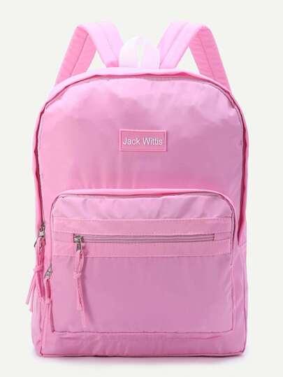 rosa reißverschluss detail leinwand rucksack
