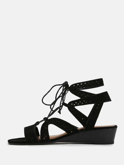 Cut Out Mini Wedge Sandals BLACK