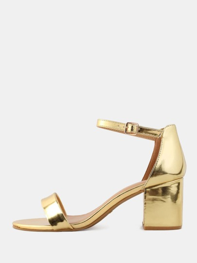 Open Toe Metallic Heels GOLD