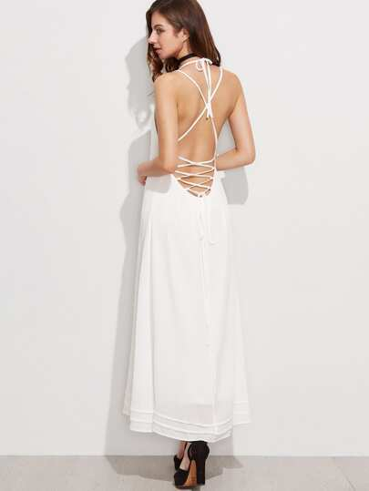 Halter Crisscross Lace Up Open Back Dress