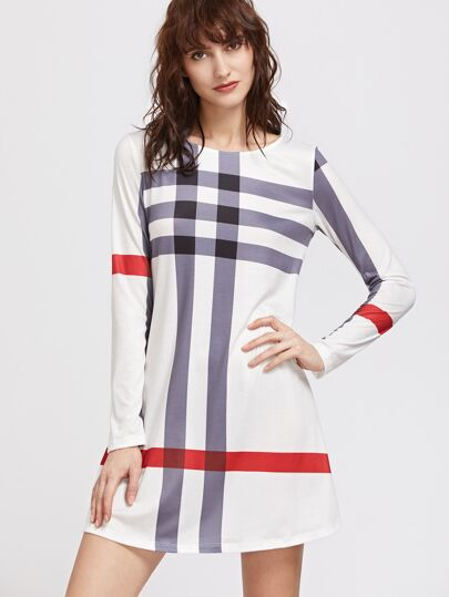 Bianco a strisce Long Sleeve Tee Dress