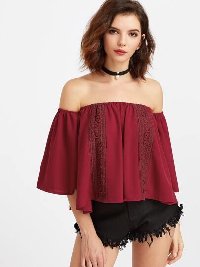 Бордовый модный топ с открытыми плечами