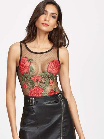Rose Embroidered Cutout Back Mesh Bodysuit