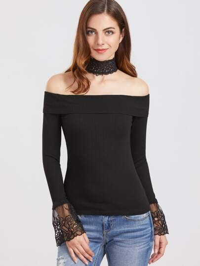 Black Choker Neck Embroidered Mesh Cuff T-Shirt