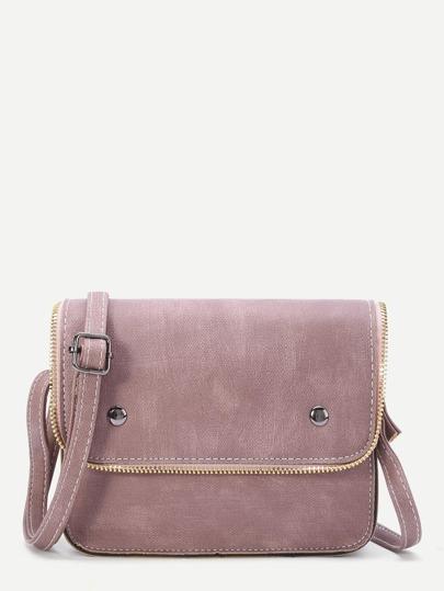 Pink Faux Leather Zip Trim Flap Satchel Bag