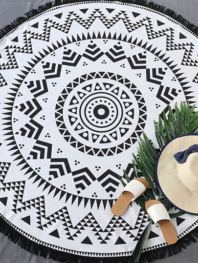 Black And White Geometric Print Fringe Trim Round Beach Blanket