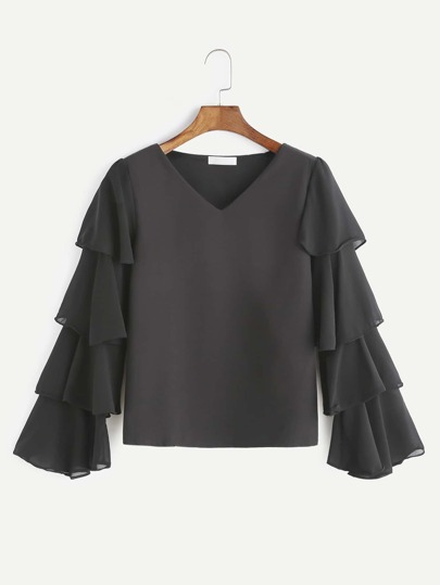 Black V Neck Tiered Bell Sleeve Chiffon Blouse
