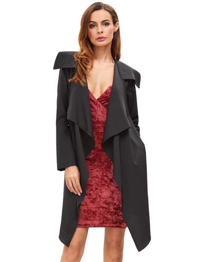 Black Draped Neck Long Sleeve Coat