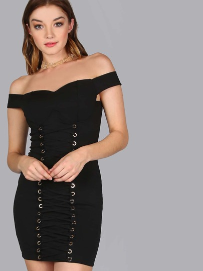 Bardot Lace Up Bodycon Dress BLACK