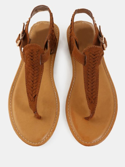 Woven Suede Thong Sandals CHESTNUT