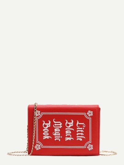 la sangle en cuir rouge en forme de sac de la chaîne du livre de faux