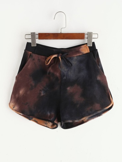 Brown Tie Dye Print Drawstring Dolphin Shorts