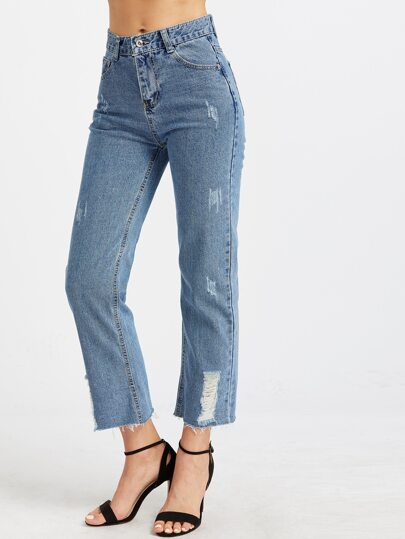 Bleu clair Ripped Raw Hem Ankle Jeans