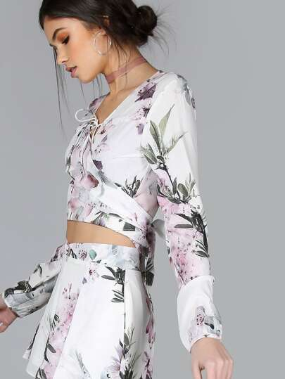 Long Sleeve Floral Tie Top FLORAL