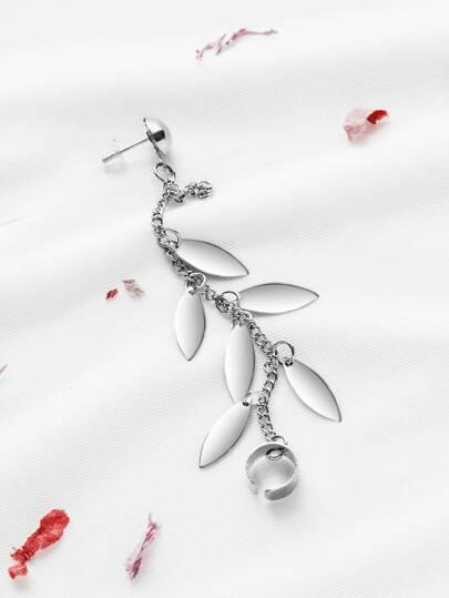 silver leaf fascino catena orecchio -