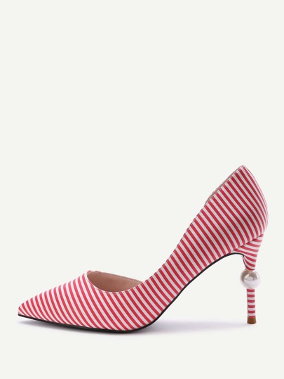 Red Striped Point Toe Stiletto Heels