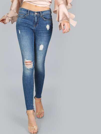 Mid-Rise Skinny Jeans MEDIUM BLUE