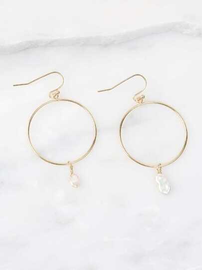 Faux Pearl Mini Hoop Earrings GOLD