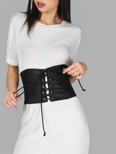 Tie Up PU Corset BLACK