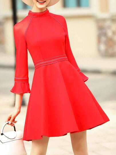 Red Bell Sleeve A-Line Dress