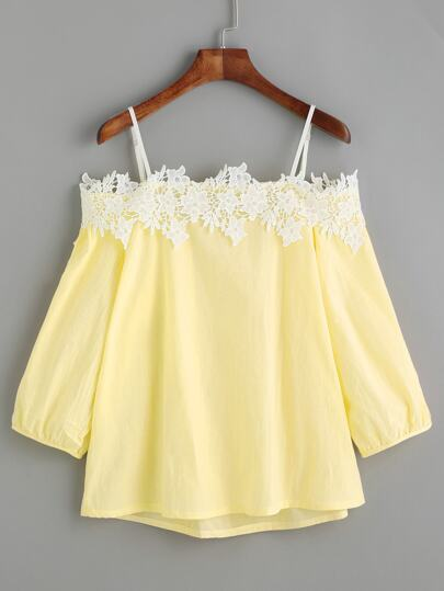 Giallo Cold Shoulder Appliques Top