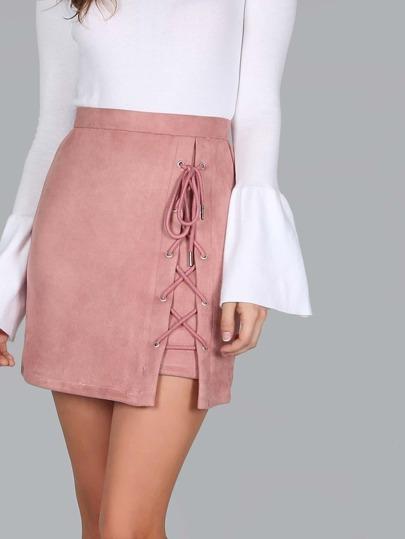 Criss Cross Lace Up Skirt MAUVE