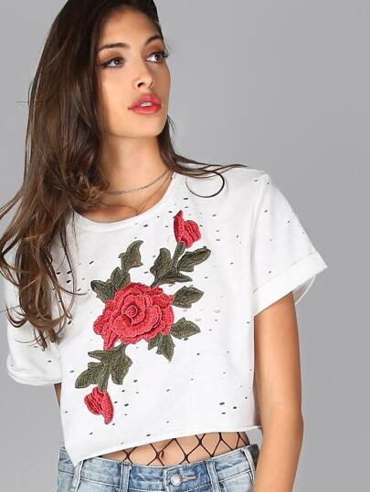 Floral Embroidered Distressed Crop Top IVORY MULTI