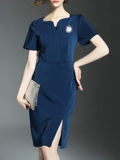 Vestido ajustado escote V con abertura-azul marino