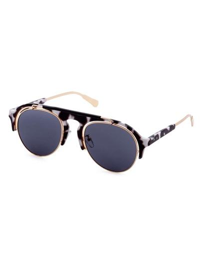 Black And White Double Bridge Sunglasses