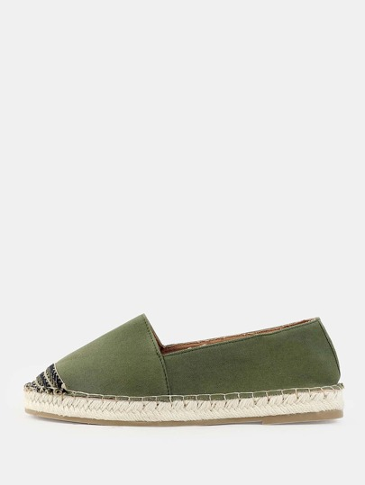 Woven Toe Canvas Espadrille Flats OLIVE