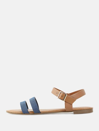 Denim Double Strap Sandals DENIM MULTI
