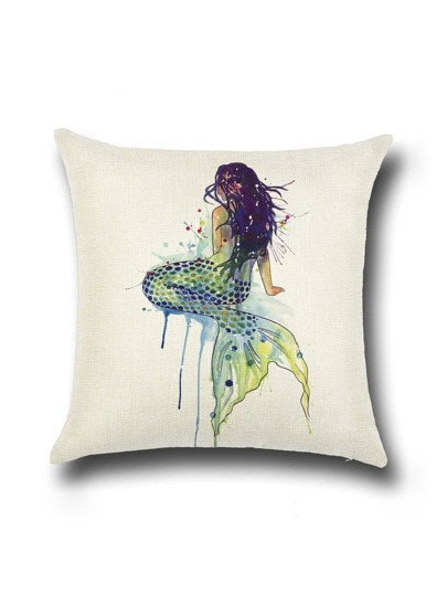 Beige Mermaid Print Linen Cushion Cover
