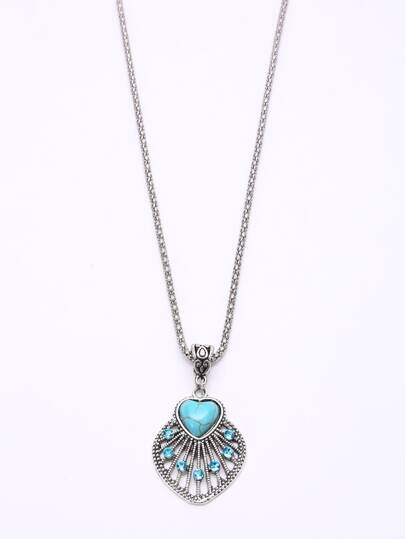 Vintage Heart-shaped Turquoise Pendant Necklace