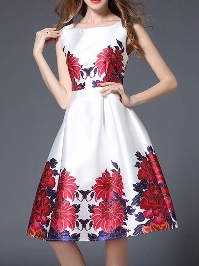 White Flowers Print A-Line Dress