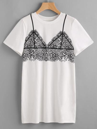 White Lace Bralet Print Tee Dress