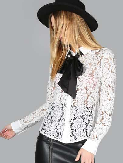 Lace Button Up Bow Blouse OFF WHITE