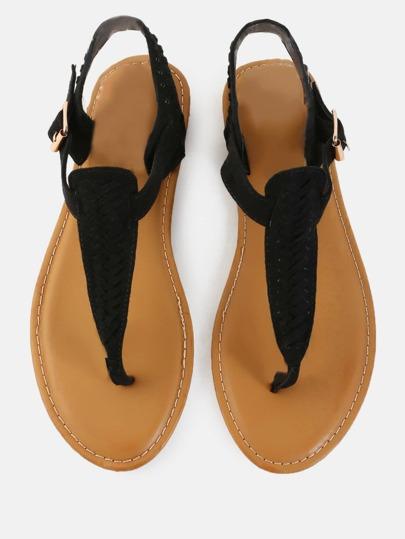 Woven Vegan Suede Sandals BLACK