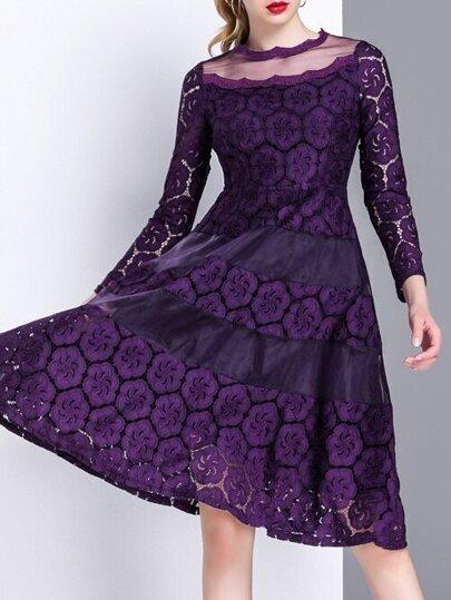 Purple Sheer Lace A-Line Dress