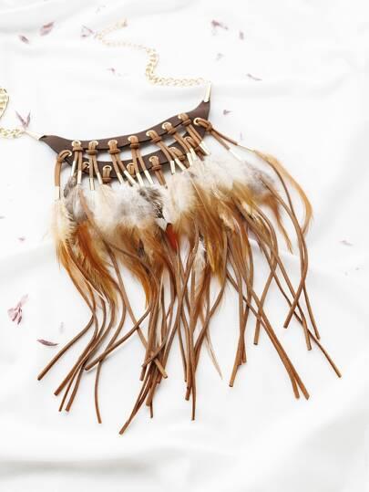 chaîne en or plume fringe collier