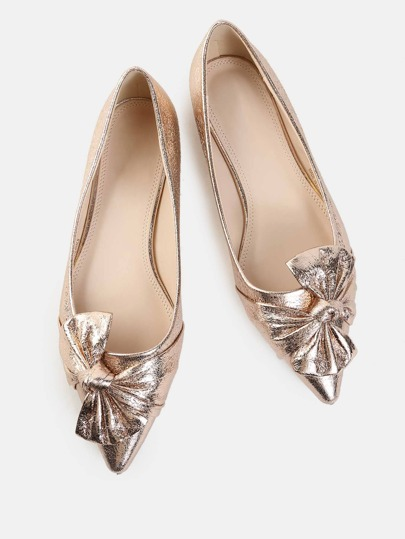 Metallic Bow Pointy Flats ROSE GOLD