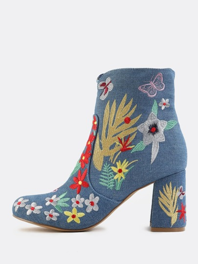 Denim Embroidered Booties BLUE DENIM