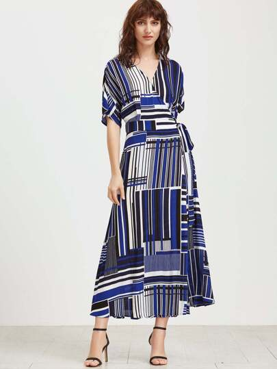 Mixed Striped Belted Wrap Dress
